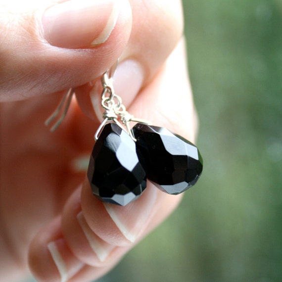Sterling Silver Black Earrings . Faceted Black Onyx Earrings . Large Black Earrings . Jet Black Drop Earrings - Black Swan Collection