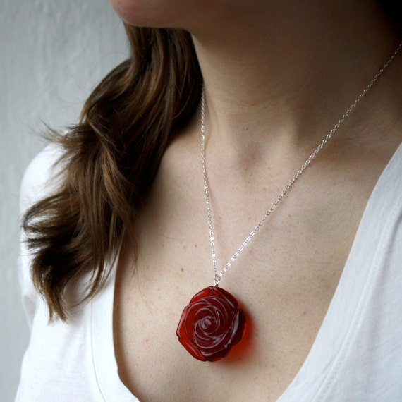 50% OFF SALE - Red Rose Necklace . Red Rose Pendant Necklace . Red Flower Necklace Wire Wrapped . Mothers Day Gift - Big Red Heart . Rebel