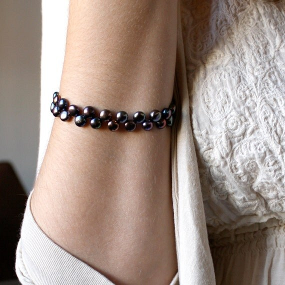 Dark Purple Bracelet . Purple Pearl Bracelet . Deep Purple Freshwater Pearl Bracelet . June Birthstone Jewelry - Halcyon Collection