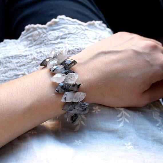 SALE 50% Off - Raw Crystal Bracelet . Rutilated Quartz Bracelet . High Fashion Jewelry . Gemstone Bracelet . Black and White Bracelet - K2