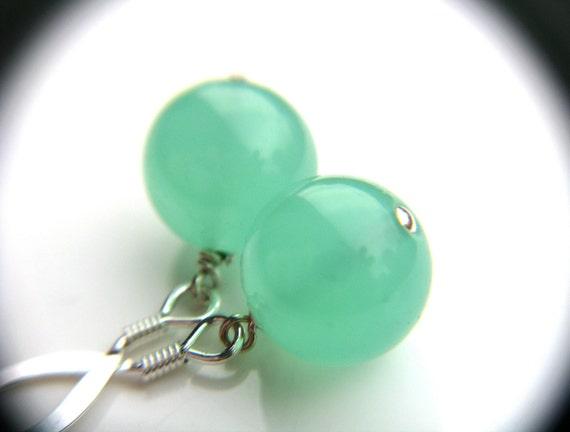 Mint Earrings . Pastel Green Earrings . Sterling Silver Ball Earrings . Simple Drop Earrings - Esme Collection . Orb