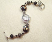 Black Raku Lampwork Glass Crystal Bead Bracelet Watch