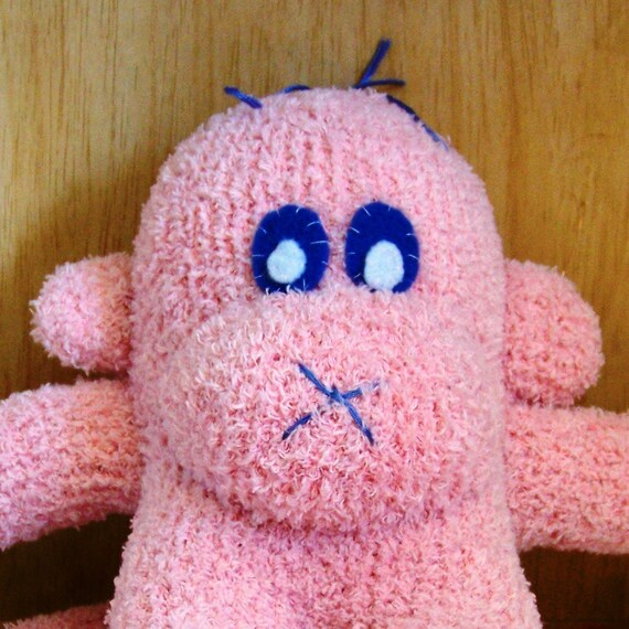 Fuzzy Little Pink Sock Monkey