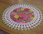 Crocheted Rose Doily Fabric Center Centerpiece