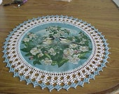 Crocheted Doilies Two Chick A Dees in the Apple Blossoms Doily Fabric Center Crocheted Edge