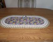 Crocheted Pansy Table Runner Fabric Center Crocheted Edge