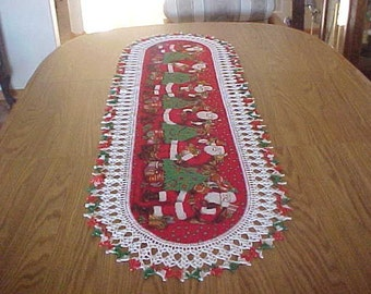 Crocheted, Christmas, Santa Table Runner, Holiday Centerpiece, Table Topper, Fabric Center, Extra Long, Last One