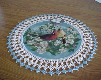 Crocheted Doily Cardinals in Apple Blossoms Fabric Center Crocheted Edge Centerpiece Doilies Table Topper