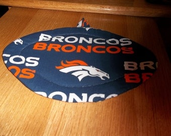 Denver Broncos, Quilted Pot Holders, Potholders, Hot Pads, Trivet Football Shaped Cotton Fabric Kitchen Decor Double Insulated, Hostess Gift