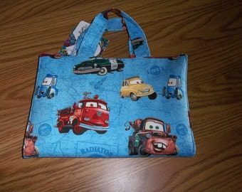 Crayon Tote Bag Caddy Activity Case Cars Lightning McQueen and all the Gang Blue