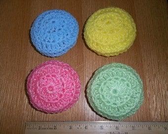 Nylon Dish Scrubbies, Dish Scrubbie Crocheted Nylon Net, Nylon Netting Scrubbie, Housewares, Set of Four, Pot Scratcher, Handmade Scrubbie