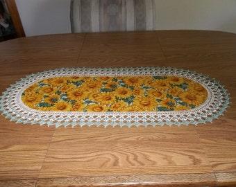 Crocheted Yellow Sunflower Table Runner Fabric Center Crocheted Edging Centerpiece Home Decor