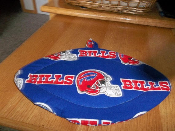 Buffalo BIlls Quilted Hot Pad Pot Holder NFL Football Shaped Quilted Fabric Pot holder Hot Pad Trivet Double Insulated
