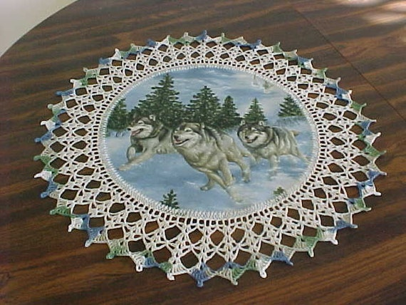 Crocheted Wolf Doily Three Running Wolves Doily Medium Doily 18 Inches Crocheted Edge Fabric Center Doily