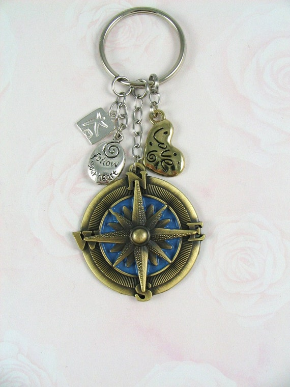Find Your Way Compass Keychain
