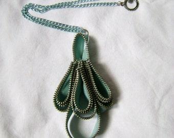 Periwinkle Chandelier Zipper Necklace