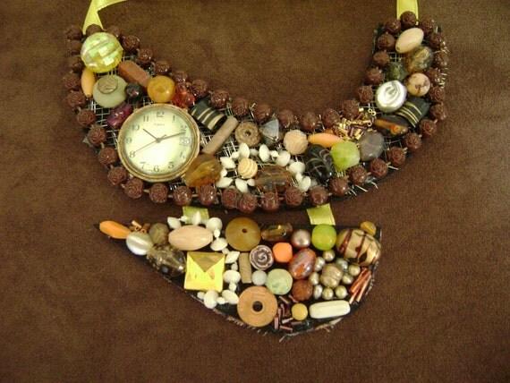 Amber Waves of Grain Bib Statement Necklace
