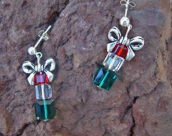 Swarovski Crystal Christmas Present Earrings on Sterling Silver Posts