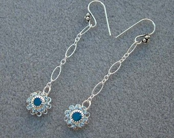 Earrings Blue Crystal Flower Drop and Sterling Silver Chain Dangles
