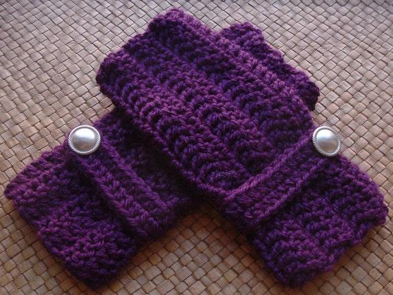Purple Crochet Wrist Warmers Fingerless Gloves with Silver Buttons