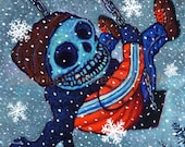 Seasonal Skeleton Swingset Signed Print Series by Mister Reusch