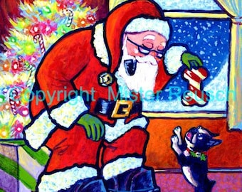 Santa Claus and Boston Terrier Original Christmas Painting by Mister Reusch