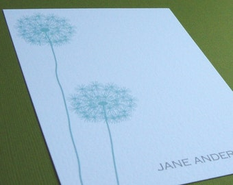 Personalized Stationery Set - personalized stationary set - thank you notes - notecards - dandelions