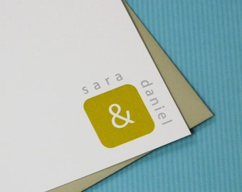 Personalized Couple Stationery Set - personalized stationary set -  couple stationary - wedding stationery - simple cube