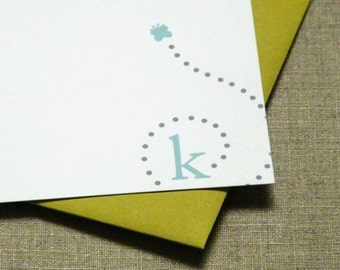 Personalized Stationery Set - personalized stationary set - thank you notes - notecards - butterfly monogram