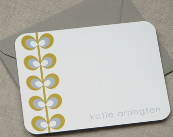 Personalized Stationery - set of 10 flat notes stationary - mod flower on left