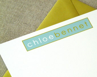 Personalized Stationery Set - set of 10 flat notes stationary - two toned name in a box