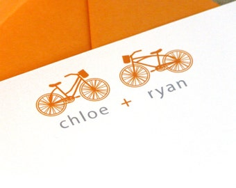 Personalized Couple Stationery - set of 10 flat notes stationary - bicycle together