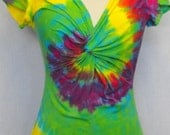 Tie Dye Twisted Front Ladies Shirt in green, yellow, purple, red and blue