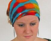 Tie Dye  Turquoise Rainbow Hemp and Cotton HeadWrap