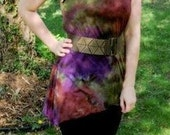 Tunic Tank with assymetrical hem tie dyed in moss, purple and brown
