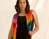 Tie Dyed Rainbow Silk Scarf