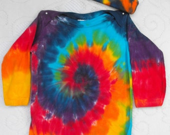 Tie Dye Rainbow Baby Infant One-Piece Long Sleeves