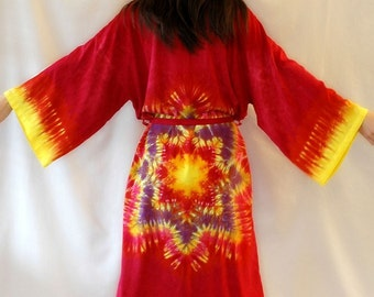 Tie Dye Rayon Robe in Custom Color and Design