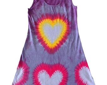 Tie-Dye Short Tank Dress in Cotton with Hearts