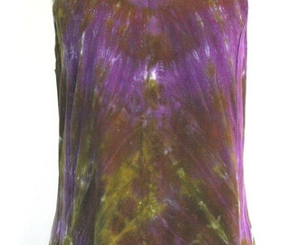 Tie Dye Maxi Dress in Moss Green and Deep Purple