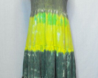 Tie Dye Woodland Green Racerback Tiered Sundress
