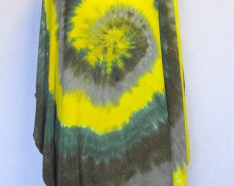 Tie Dye Rayon Poncho in Greens