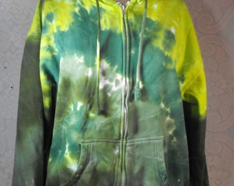 Tie Dye Zip Hoodie in Forest Green Swirl