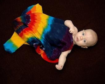 Tie Dye Cotton Rainbow Thermal Baby Blanket