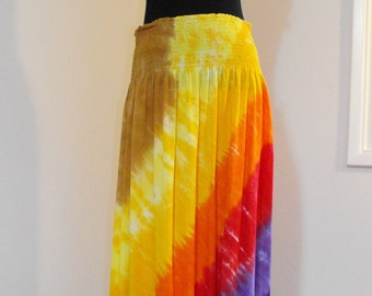 Tie Dye Smocked Waist Skirt in Sunset Colors
