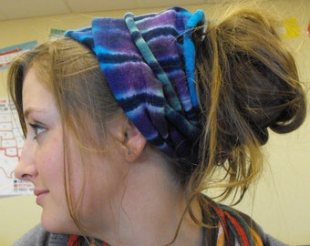 Tie Dye Hemp and Cotton HeadWrap in Purple, Green, Turquoise and Cobalt