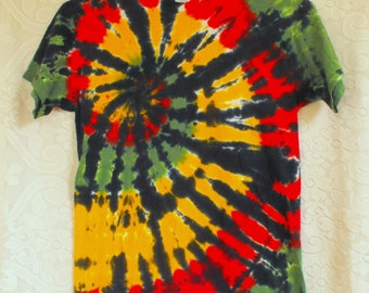 Tie Dye T Shirt in Rasta Colors