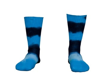 Bamboo Socks for Adults Tie Dyed in Blue Stripes