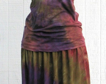 Tie Dye Skirt and Top in Purple, Brown and Moss Green