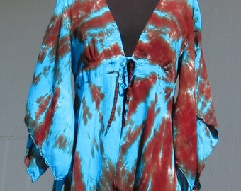 Tie Dye Kimono Sleeve Jacket in Turquoise and Brown